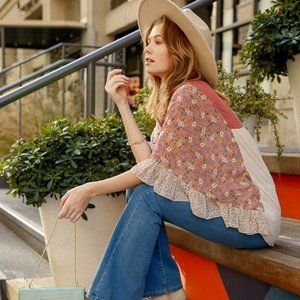 Umgee Pink Floral Mixed Ruffle Bell Sleeve Tunic